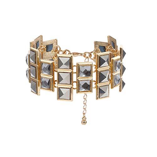 Hemlock Women Party Bracelet Jewelry Irregular GemstoneBracelet Big Rhinestone Bracelet Adjustable Chain Bangles (Gold)