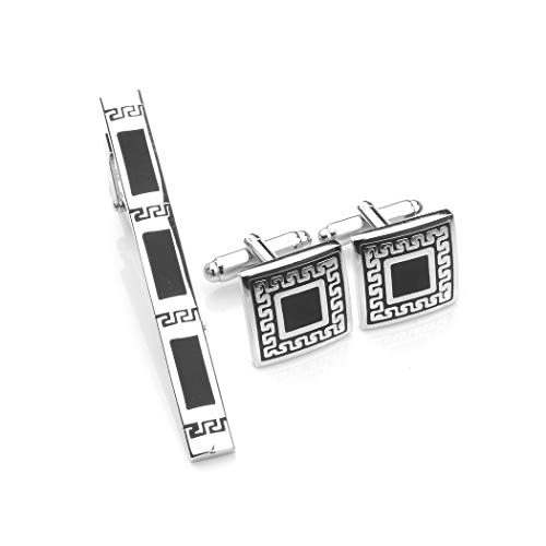 Glamorousky Fashion Father Pattern Tie Clip and Cufflinks (24478)