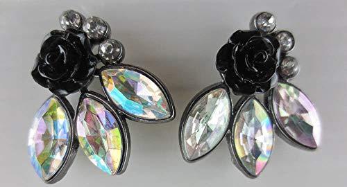 - Crystal Aurora Borealis Marquise Rhinestone Layered Black Flower Earrings