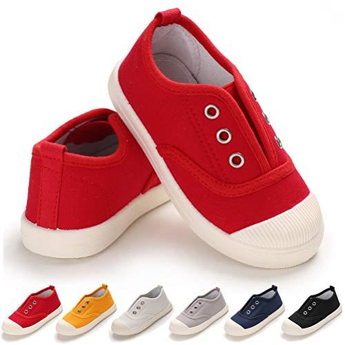Toddler Kids Canvas Sneaker Slip-On Lightweight Running Tennis Shoes for Baby Boys Girls (10 Toddler, B-Red Toddler Shoes