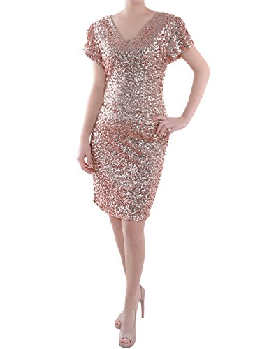 Anna-Kaci Womens Sexy Short Sleeve Sequin Bodycon Mini Cocktail Party Club Dress, Rose Gold, Medium