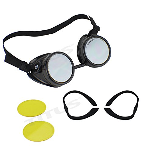 Titus Sports Riders Steampunk Safety Goggles Motorcycle Strap Eye Protection (Standard, w/ Yellow Lenses + - Sunglass Rage Coupon