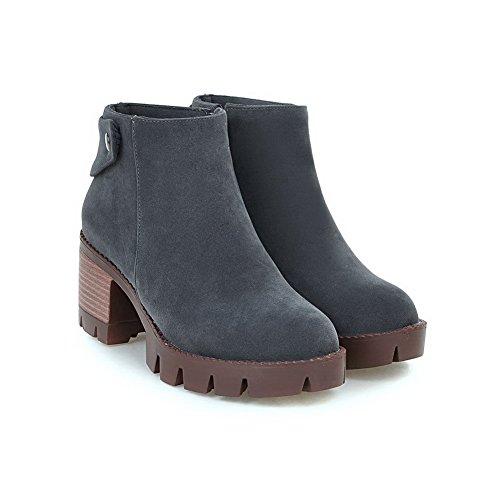 Balamasa Meisjes Metalen Spijker Ritssluiting Dikke Hakken Frosted Boots Grijs