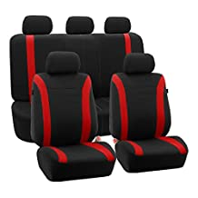 FH Group FB054RED115 Red Cosmopolitan Flat Cloth Seat Cover (Airbag Ready Split Bench Full Set)