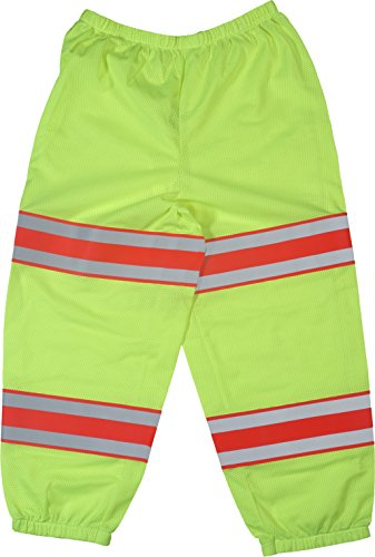 Mutual Industries 16367-139 High Visibility Polyester ANSI Class E Mesh Pant with 4'' Silver/Orange/Silver Reflective Tapes, Lime by Mutual Industries
