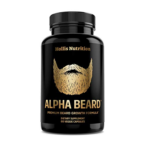 Alpha Beard Beard Growth Supplement | Formulated with (Patented) OptiMSM®, goMCT®, Biotin 10000mcg, Collagen | Beard Growth Vitamins for Men | for All Hair Types | Fuller, Thicker, Healthier Beard