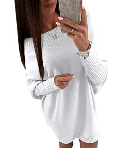 Autunno Maglione Sciolto Tinta Mini Donna Lunga Fashion Simple Partito da Tunica Unita Vestiti Primavera Bianca Top Bluse Pullover Vestito Sweater e Manica Lungo Moda Casual twxqxYT7