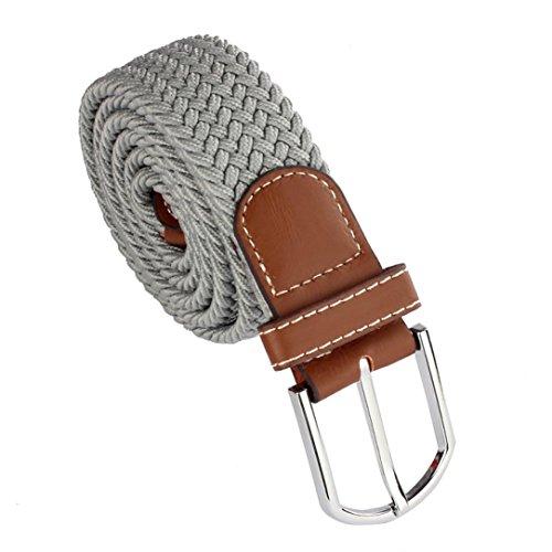 LOngra New Men Leather Braided Elastic Stretch Metal Buckle Belt Waistband (Gray)