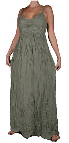 Sommer Damen Spitze Maxi Kleid Ballon Lagenlook 36 38 40 42 S M L Abendkleid Urlaub Strand Oliven Grün