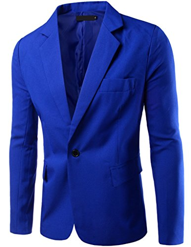 Porlox Mens Casual Peaked Lapel Slim Fit 1 Button Suit Blazer Royal...