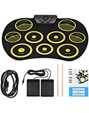 Desktop Hand-Rolled Electronic Drum, Drum Set Reverberation Game, Children's Toy Practice Silicone Portable Pedal, Charging USB,Yellow