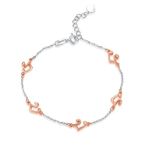 14carats 585or blanc et rose Bracelet note de musique (16,5cm) Bijoux Cadeau pour femmes filles
