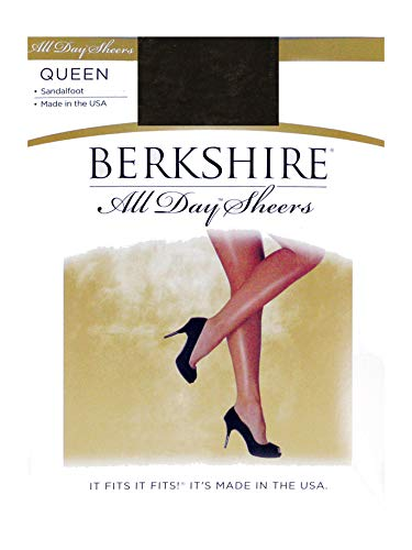 Berkshire Women's Plus Size Queen All Day Sheer Pantyhose - Non Control Top Sandalfoot, Off Black, - Stretch Berkshire Pantyhose