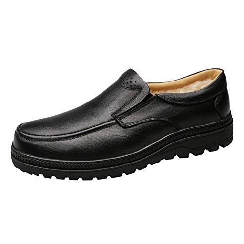 Sun Lorence Hombres Winter Casual Business Soft Plush Lined Warm Leather Slip-on Mocasines Zapatos De Vestir Negro