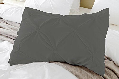 Pintuck Standard Sham - Kotton Culture Set of 2 Pillow Shams Pinch Pleated Luxurious Soft and Hypoallergenic 100% Egyptian Cotton 1000 Thread Count Pintuck Decorative by (Standard Size- Queen/Full/Twin, Grey)