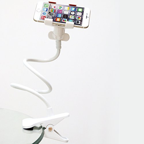 HOOSUN Gooseneck Flexible Long Arms Cell Phone Clip Holder Stand, Lazy Bracket for for iPhone, GPS Devices,Fit On Desktop Bed Mobile Stand for Bedroom, Office,Bathroom, Kitchen (White)