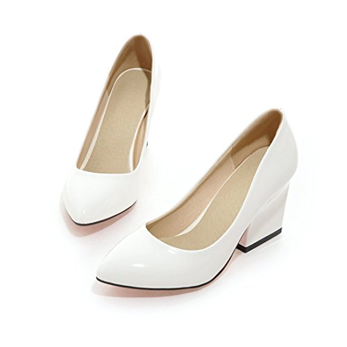 YE Damen Spitze Pumps Lack Blockabsatz High Heels mit Absatz 9cm Elegant Schuhe Weiß