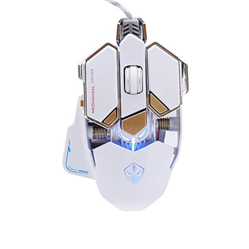 White Nobrand 4000DPI Gaming LED Mouse Optical Mouse Wired Mouse Professional Mechanical Mouse Game Programming Computer Accessories Mosuse