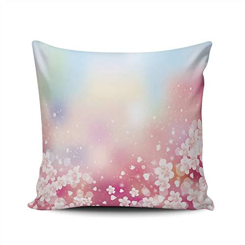 MUKPU Pillow Covers Cherry Blossom Throw Pillow Case Hidden Zipper Decorative Custom Pillow Cases Double Sides Printed European 26x26 Inches ()