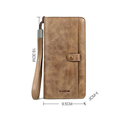 Khaki Khaki WALLETS Bag High Wallet Khaki Purse Men's Capacity Hand Dark Color Honey Brown 7d8fwq7