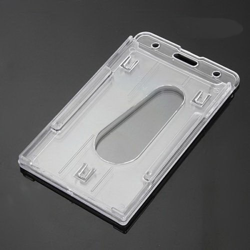 3Pcs Vertical Hard Plastic Badge ID Credit Card Holder Business Capacity - Sale Id Military Fake Cards