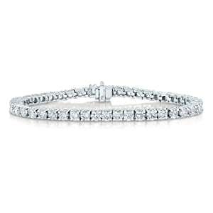 AGS Certified 4 CT SI1-SI2 Diamond Tennis Bracelet 14K White Gold (G-H)
