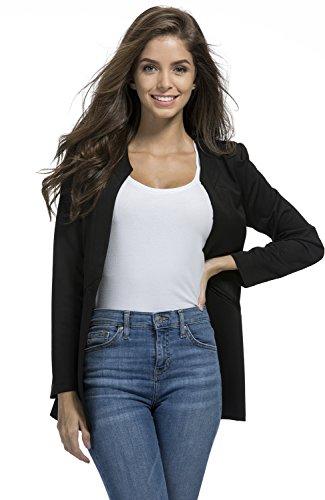 RubySports Women Clothing RS Womens Casual Basic Work Office Cardigan Blazer One Button Jacket Black 01 ()