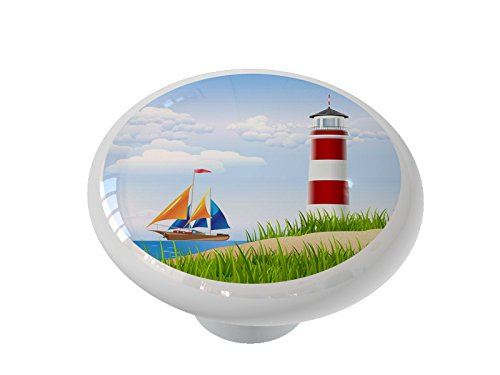 Lighthouse and Sailboat Ceramic Drawer Knob