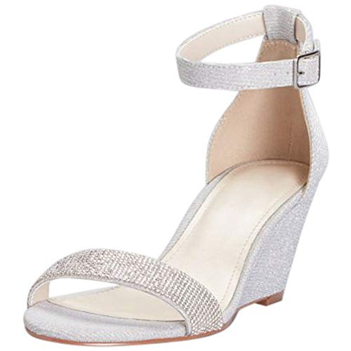- David's Bridal Crystal-Topped Wedge Sandals with Ankle Strap Style MARI, Silver, 8