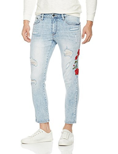 Nothing but Denim Men's Skinny Fit Ripped Jeans Vintage Style with Broken Holes (AM1020,W34/L28)