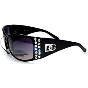 DG Eyewear Rhinestone Bling Black Womans Sunglasses Shades