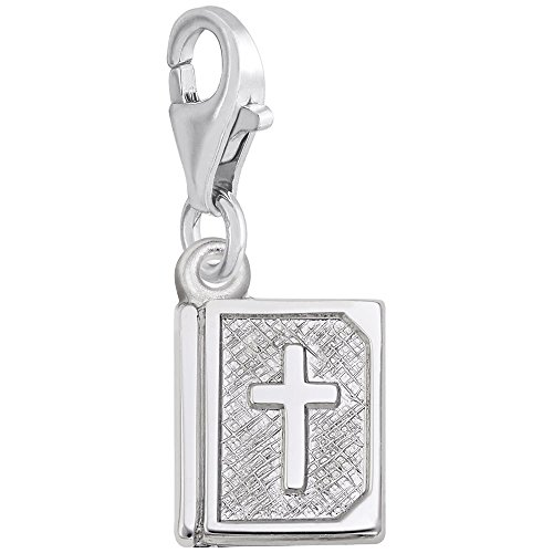 (Sterling Silver Bible Charm With Lobster Claw Clasp, Charms for Bracelets and Necklaces)
