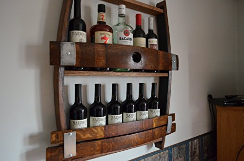 Full Wine barrel wine rack, reclaimed wine barrel, liquor cabinet by Barrels & Barn Wood
