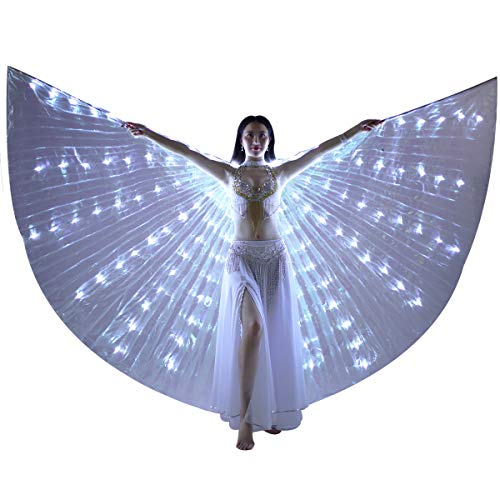 LED Isis Wings - Belly Dance Light Up Wings Party Club Wear with Flexible Sticks for Women/Girls(White) ()