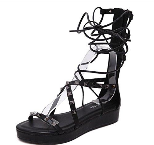 Sandalias Pisos moda Nueva cordones Casual LINYI Zapatos mujer Negro de Con Verano Caminar Remache YAAF4R0g