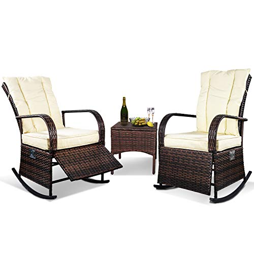 3 Piece Patio Furniture Set Wicker Rattan Outdoor Rocking Conversation Set with 2 Cushioned Chairs & 1 End Table