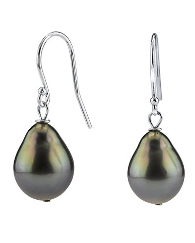 THE PEARL SOURCE 14K Gold 9-10mm Baroque Black Tahitian Cultured Pearl Drop Dangling Tincup Earrings for Women (14k Pearl Gold Baroque)