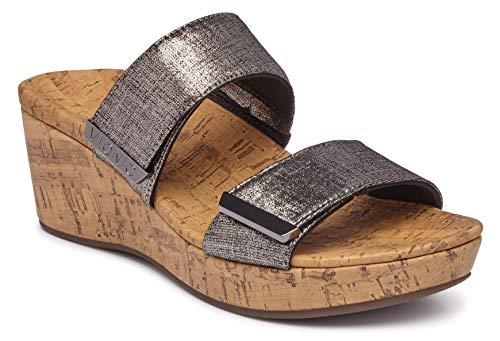 Vionic Women's Atlantic Pepper Adjustable Platform Sandal - Ladies Wedge with Concealed Orthotic Arch Support Gunmetal Metallic 9 M US