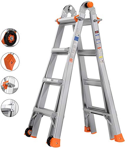 TACKLIFE-Ladders-13ft-17ft-5-Modes-Extension-Ladder-Upgraded-Aluminum-ANSI-standard-300-lb-Duty-Rating-Load-Capacity-Type-IA-Stronger-J-Lock-Design-Thick-Non-Slip-Foot-Pad-Multi-Use-Ladder