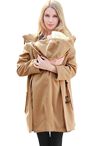 Sweet Mommy Big Hoodie Mother Duffle Coat with baby wearing pouch CAMELL