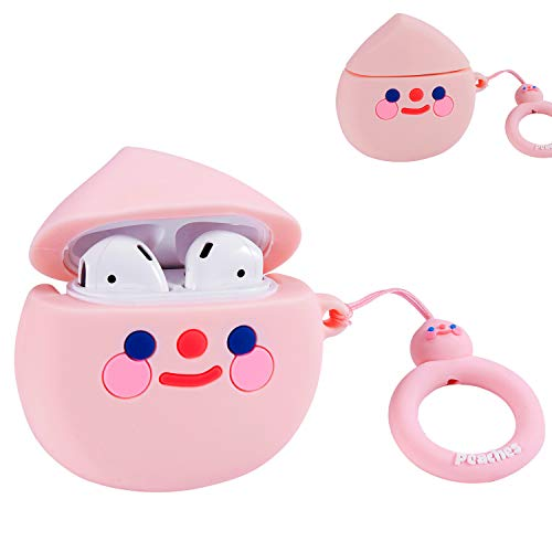 Lakaka for Airpods 1/2 Cute Case,Cartoon Character Silicone Animal Airpod 1&2 Designer Skin Kawaii Funny Fun Cool Keychain Ring Design Cover Kids Teens Air pod Cases for Girls Boys(3D Pink Peach)