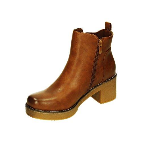 King Of Shoes Damen Stiefeletten Ankle Boots Plateau Stiefel Schuhe 74 Camel 293