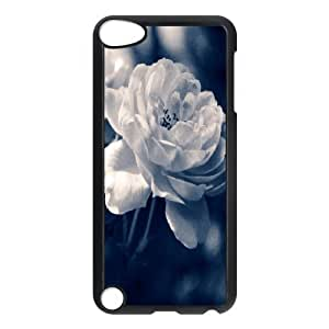 Ipod Touch 5 Case Rose 47 Cute for Girls, Ipod Touch 5g Case Hard Bloomingbluerose, [Black]