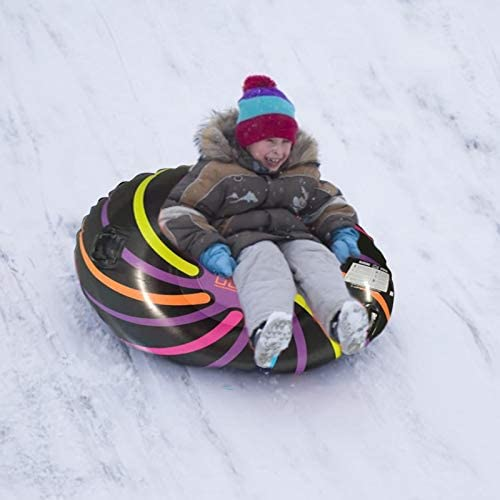 Inflatable Snow Sled 47 Inch Inflatable Snow Tube Heavy Duty Snow Rider Sled with Two Handles for Kids and Adults