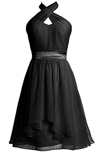 Women Chiffon Formal Halter Party Dress Schwarz Gown Bridesmaid Cocktail MACloth Short fpgx4Rnn