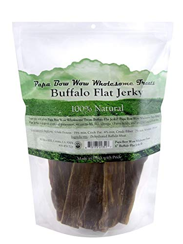 Papa Bow Wow Buffalo Flat Jerky - 6 Long 1 lb (6 Pack)