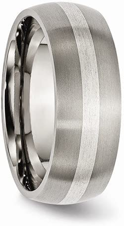Titanium Grooved 14k Yellow Inlay 6mm Brushed and Antiqued Band Size 7.5 Length 0 Width 6