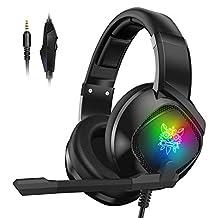Audífonos Gamer con Micrófono para PS4 Xbox One PC, Diadema Auriculares Alámbrico Estéreo para Juegos Cancelación de Ruido y Luz LED Control de Volumen Headset para Computadora Portátil, Tableta, Celulares