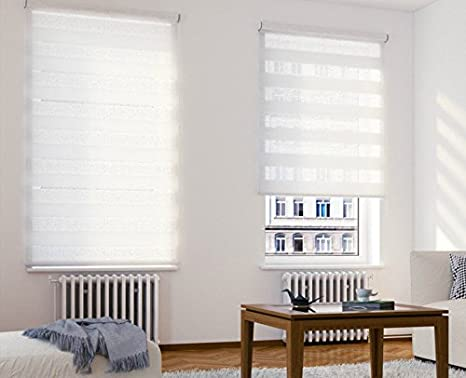 beytug Quality White Zebra//Vision Window Roller Blind +4.5cm fittings Choice of 16 Width Sizes 50cm Wide