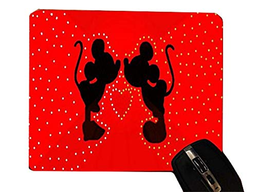 (Lovely Cute Mice Silhouettes Red Heart Design Print Image Desktop Office Silicone Mouse Pad by Trendy Accessories )